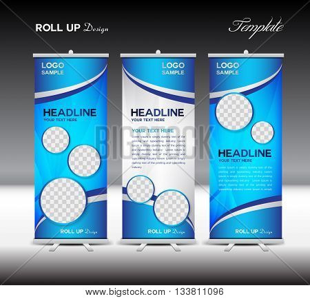 blue Roll Up Banner template vector illustration