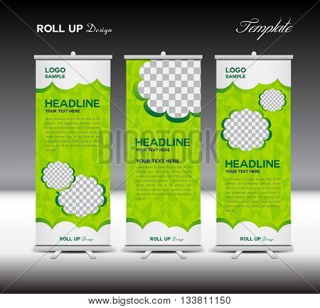 Green Roll Up Banner template vector illustration