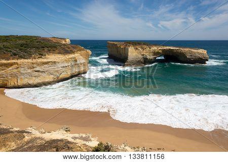 limestone coast erosion - landmass separated by the sea