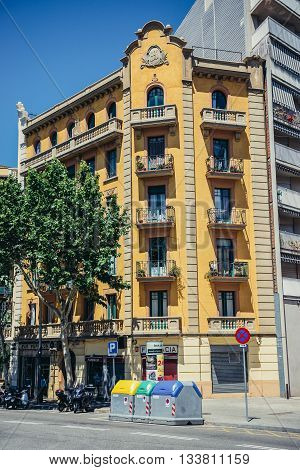 Barcelona Spain - May 22 2015. House of flats at Carrer de Lleida street in Barcelona city