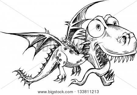 Dragon Doodle Sketch Vector