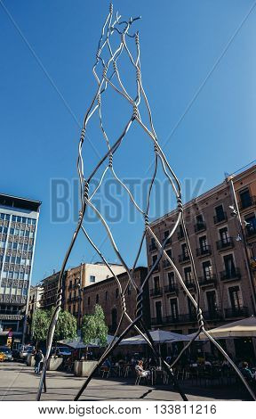 Barcelona Spain - May 22 2015. Castellers human tower modern statue at Placa de Sant Miquel
