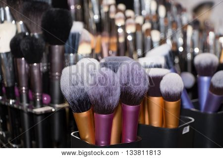 set of new natural color professional makeup brushes