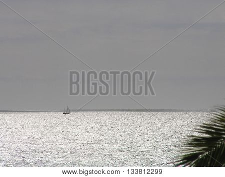 Lone sailboat on the silver gleaming open sea.