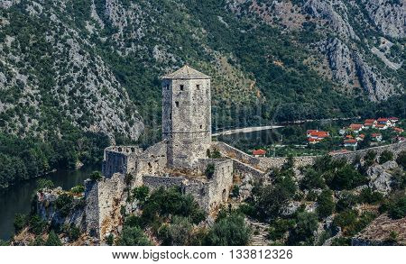 Pocitelj Bosnia and Herzegovina - August 26 2015. 14th century fortress in Pocitelj village