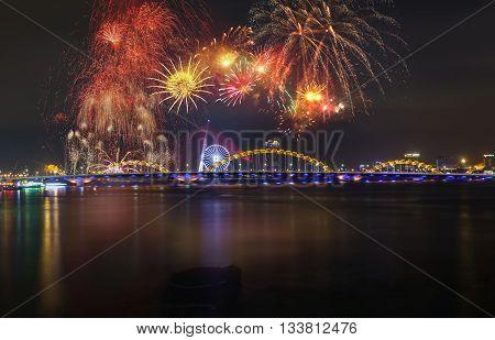 DA NANG, VIETNAM, April 30, 2016 festival, fireworks, Ha River, Da Nang City, Vietnam Reunification welcome