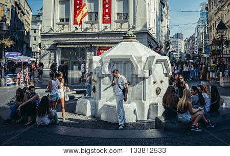 Belgrade Serbia - August 29 2015. Delijska Fountain at Prince Michael Street in Belgrade city