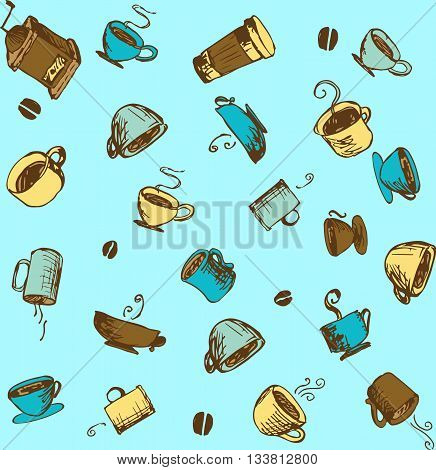 Hand-drawn Coffee  and Accessories Sketchy Icons and Seamless Pattern.