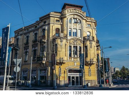 Belgrade Serbia - August 29 2015. Building on Karadjordjeva Street in Belgrade