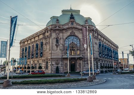 Belgrade Serbia - August 29 2015. Building of Belgrade Cooperative bank in Belgrade