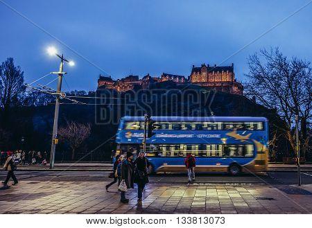 Edinburgh UK - January 20 2015. Edinburgh Castle seen from Princes Street