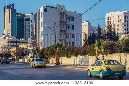 Amman Jordan - December 23 2015. View on Essam Ajlouni Street in Amman