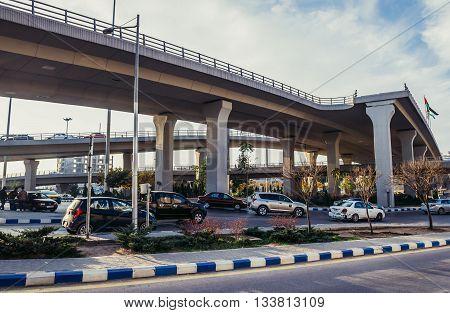 Amman Jordan - December 23 2015. Crossroad of Sulayman Al Nabulsi and Queen Noor Streets