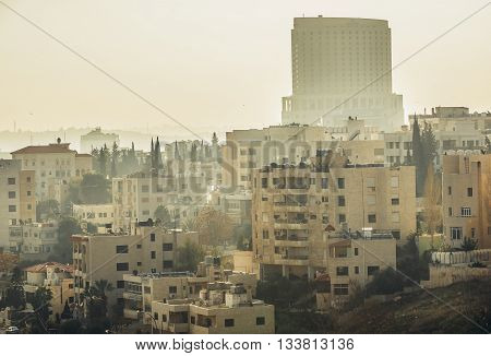 Amman Jordan - December 23 2015. Aerial view of Amman city with Le Royal Hotel