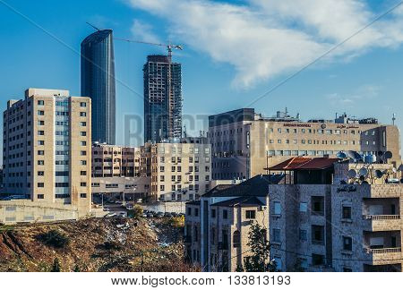 Amman Jordan - December 23 2015. View of Amman city with Jordan Hospital and Rotana Hotel Tower and W Hotel Tower