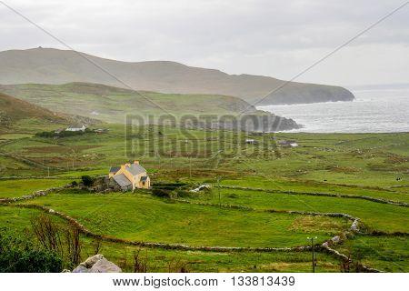 Farm house on the coast of the Irish Sea.