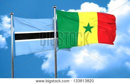Botswana flag with Senegal flag, 3D rendering