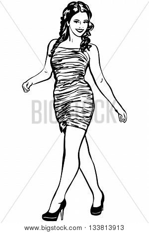 black and white vector sketch of brunette girl in high heels