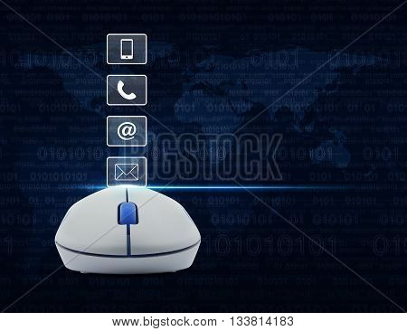 Wireless computer mouse with telephone mobile phone at and email buttons over computer binary code background Customer support concept Elements of this image furnished by NASA