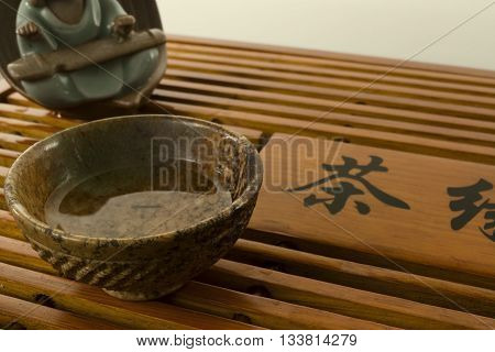 tea ceremony in the tea table with the tea god