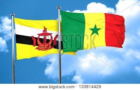 Brunei flag with Senegal flag, 3D rendering