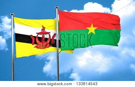 Brunei flag with Burkina Faso flag, 3D rendering