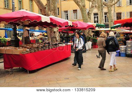 Aix en Provence France - april 21 2016 : the city hall square market