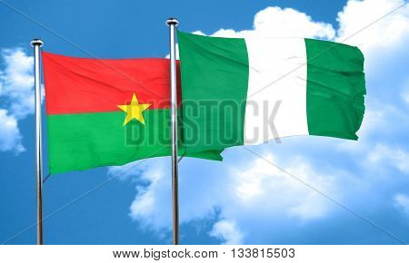 Burkina Faso flag with Nigeria flag, 3D rendering