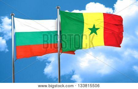bulgaria flag with Senegal flag, 3D rendering