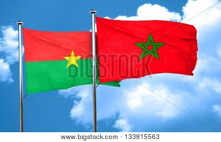 Burkina Faso flag with Morocco flag, 3D rendering