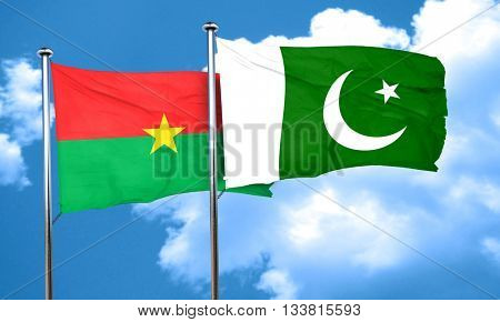 Burkina Faso flag with Pakistan flag, 3D rendering