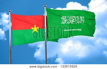 Burkina Faso flag with Saudi Arabia flag, 3D rendering