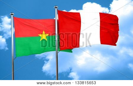 Burkina Faso flag with Peru flag, 3D rendering