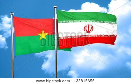Burkina Faso flag with Iran flag, 3D rendering