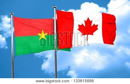 Burkina Faso flag with Canada flag, 3D rendering