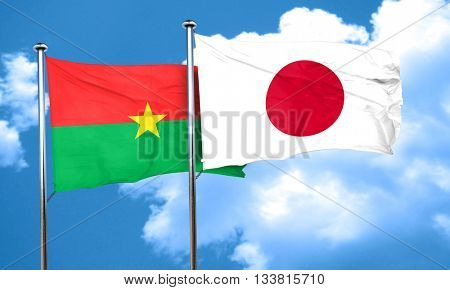 Burkina Faso flag with Japan flag, 3D rendering