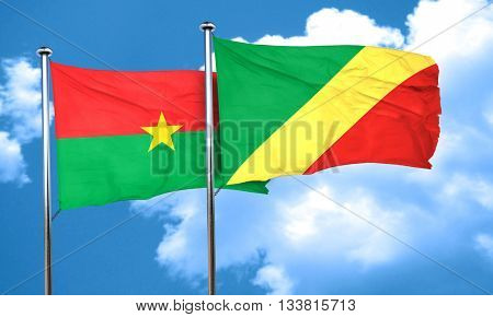 Burkina Faso flag with congo flag, 3D rendering