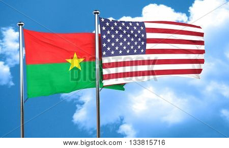 Burkina Faso flag with American flag, 3D rendering