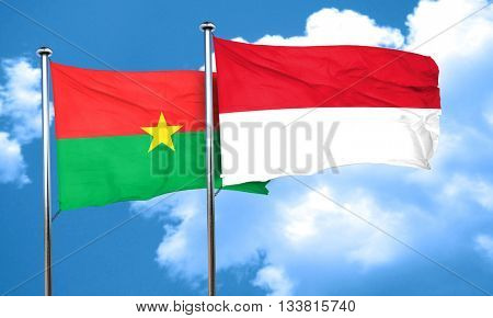 Burkina Faso flag with Indonesia flag, 3D rendering