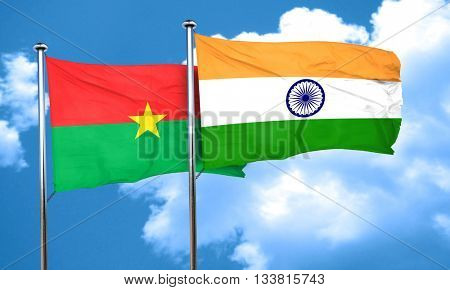 Burkina Faso flag with India flag, 3D rendering
