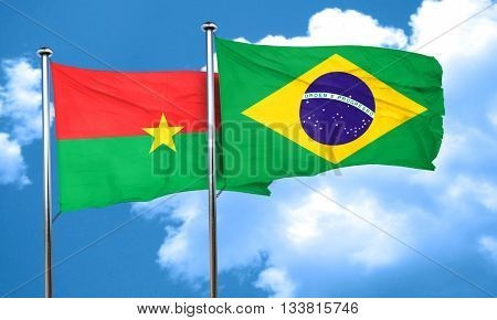 Burkina Faso flag with Brazil flag, 3D rendering
