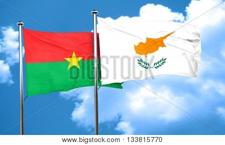 Burkina Faso flag with Cyprus flag, 3D rendering