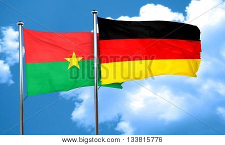 Burkina Faso flag with Germany flag, 3D rendering