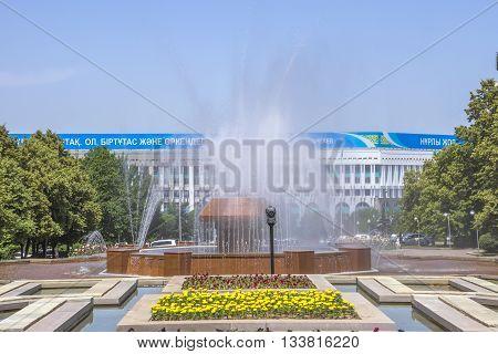 ALMATY KAZAKHSTAN - JUNE 8 2016: Fountain in the park of the first President Almaty Kazakhstan