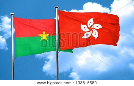Burkina Faso flag with Hong Kong flag, 3D rendering