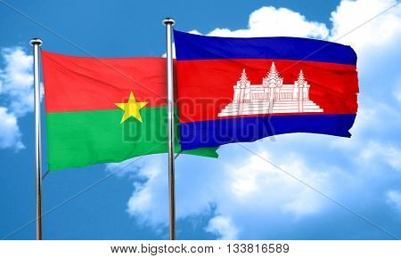 Burkina Faso flag with Cambodia flag, 3D rendering
