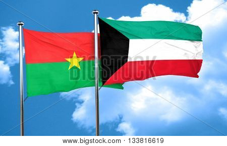 Burkina Faso flag with Kuwait flag, 3D rendering