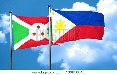 Burundi flag with Philippines flag, 3D rendering