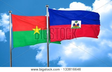Burkina Faso flag with Haiti flag, 3D rendering