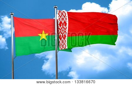 Burkina Faso flag with Belarus flag, 3D rendering